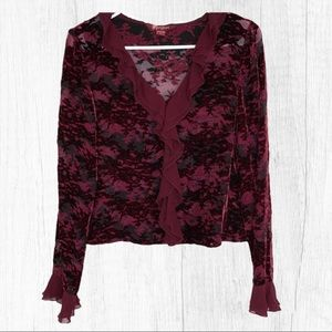 Monsoon Red Viscose Silk Shirt Ruffle Trim…